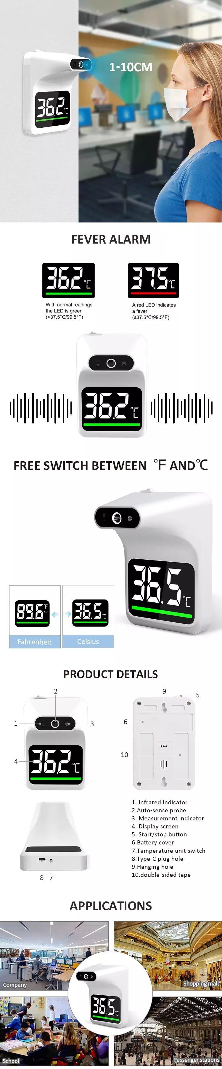 Infrardeči brezkontaktni stenski termometer UFR101 medicinski pripomoček z alarmom za povišano temperaturo